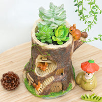 Squirrel Treehouse Resin Succulent Pot