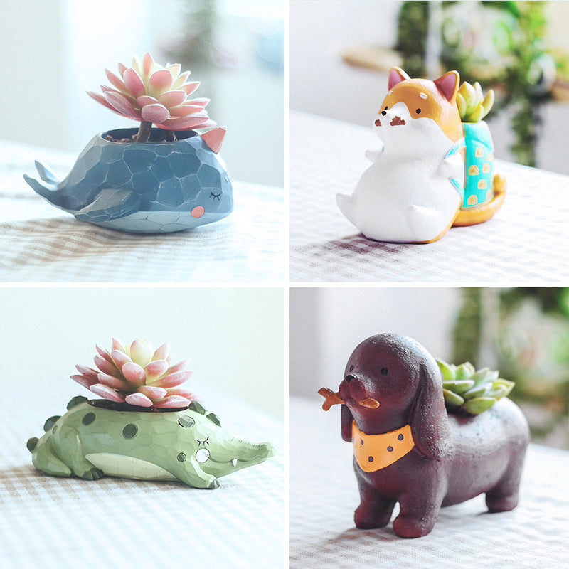 Set of 4 Cute Animal Resin Succulent Pots
