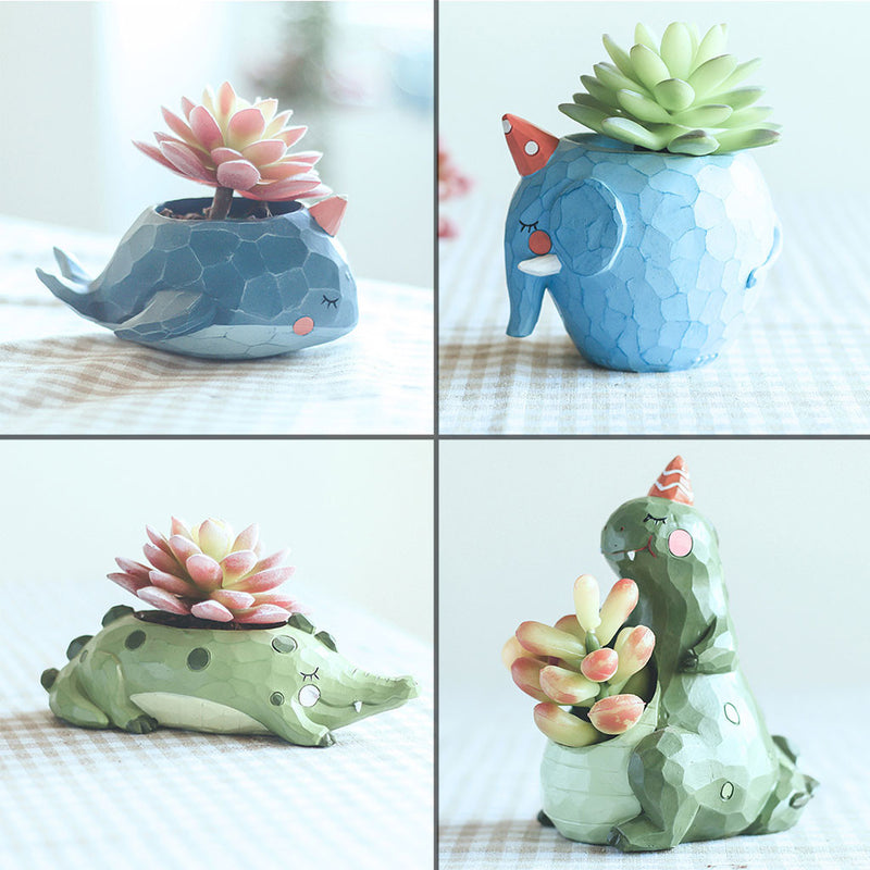 Set of 4 Cute Animal Resin Succulent Pots Garden Essentials myBageecha - myBageecha