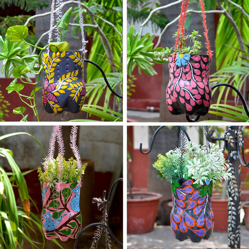 Set of 4 Hand-Painted Vertical Pots Garden Essentials myBageecha - myBageecha