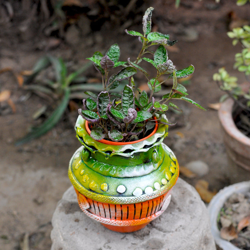 Terracotta Small Colourful Pot Garden Essentials myBageecha - myBageecha