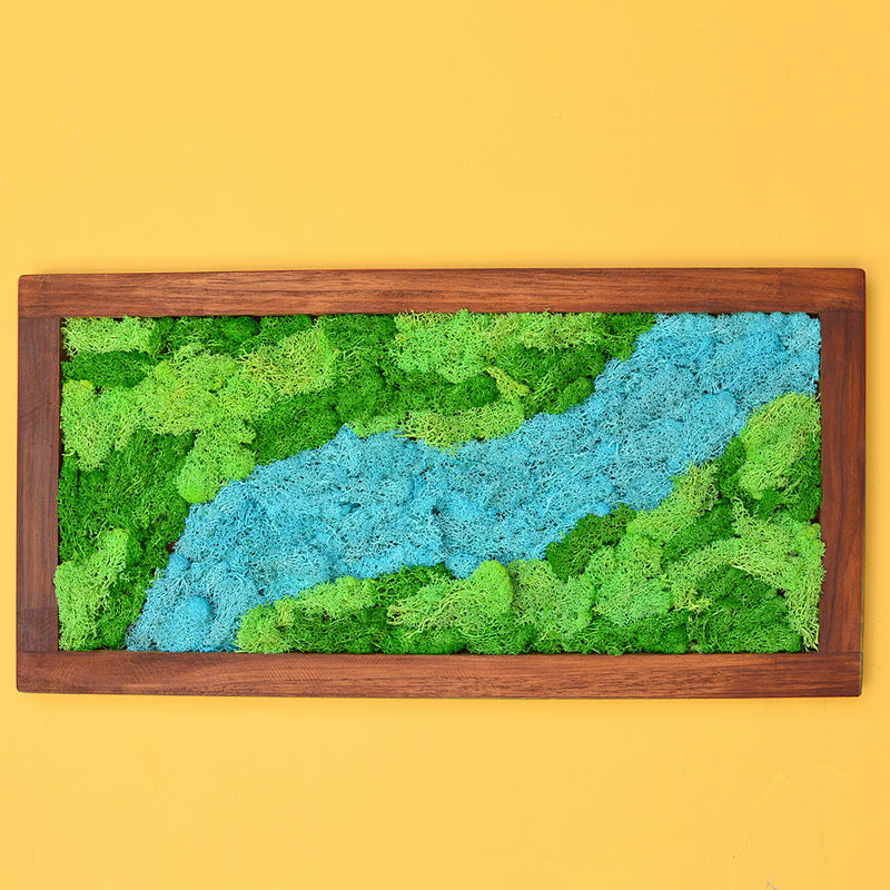 Sparkling Stream Moss Frame with Dark Wood