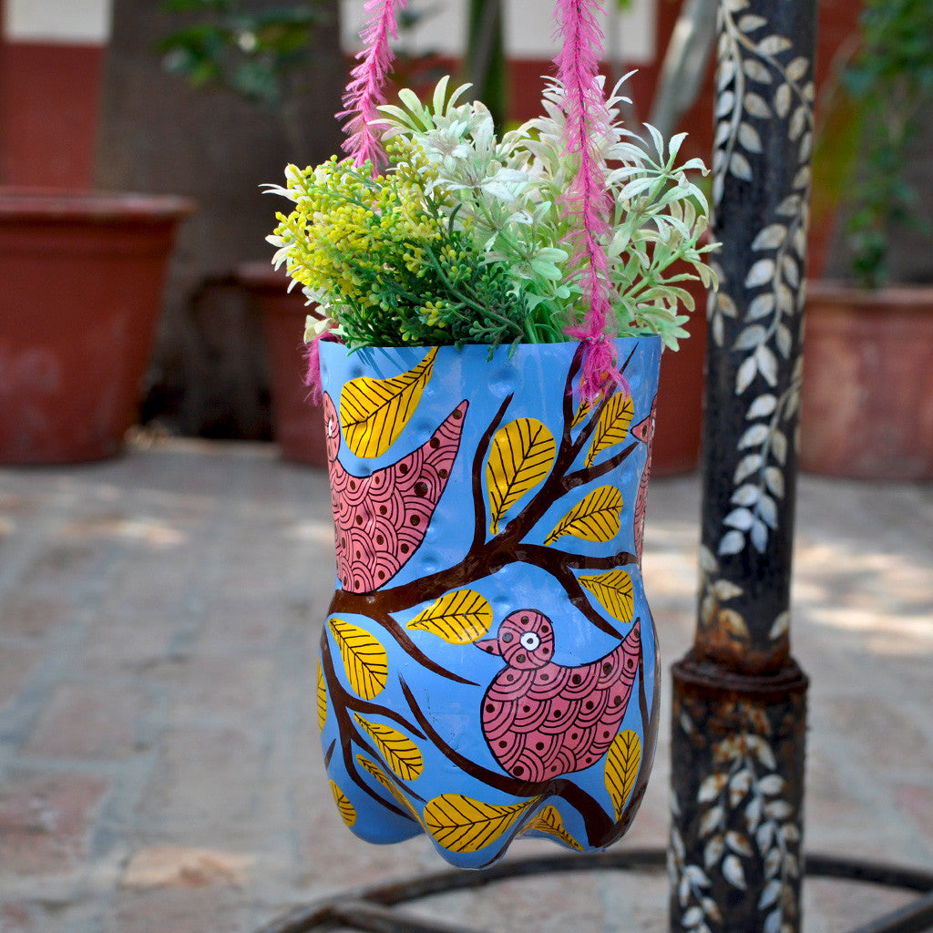 Hand-painted Bird Theme Vertical Pot Garden Essentials myBageecha - myBageecha