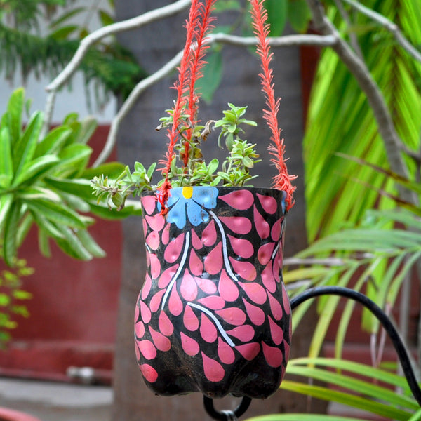 Hand-Painted Vertical Pot