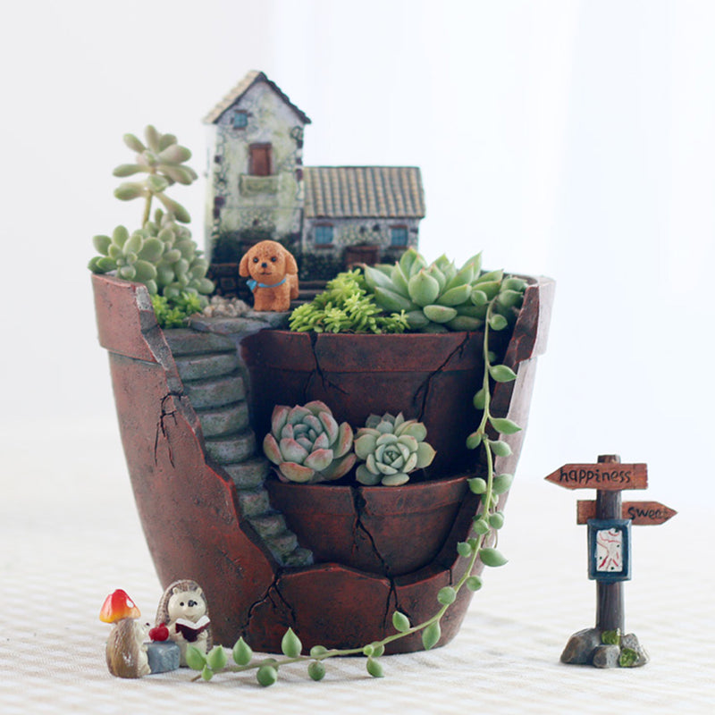 Vintage House Resin Succulent Pot