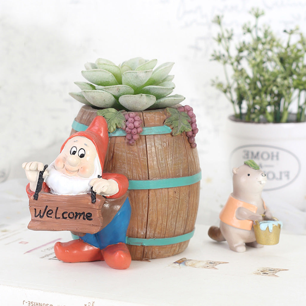 Welcoming Dwarf with Barrel Resin Succulent Pot