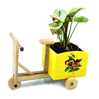 Wooden Yellow Pansies Tricycle Planter Garden Essentials myBageecha - myBageecha