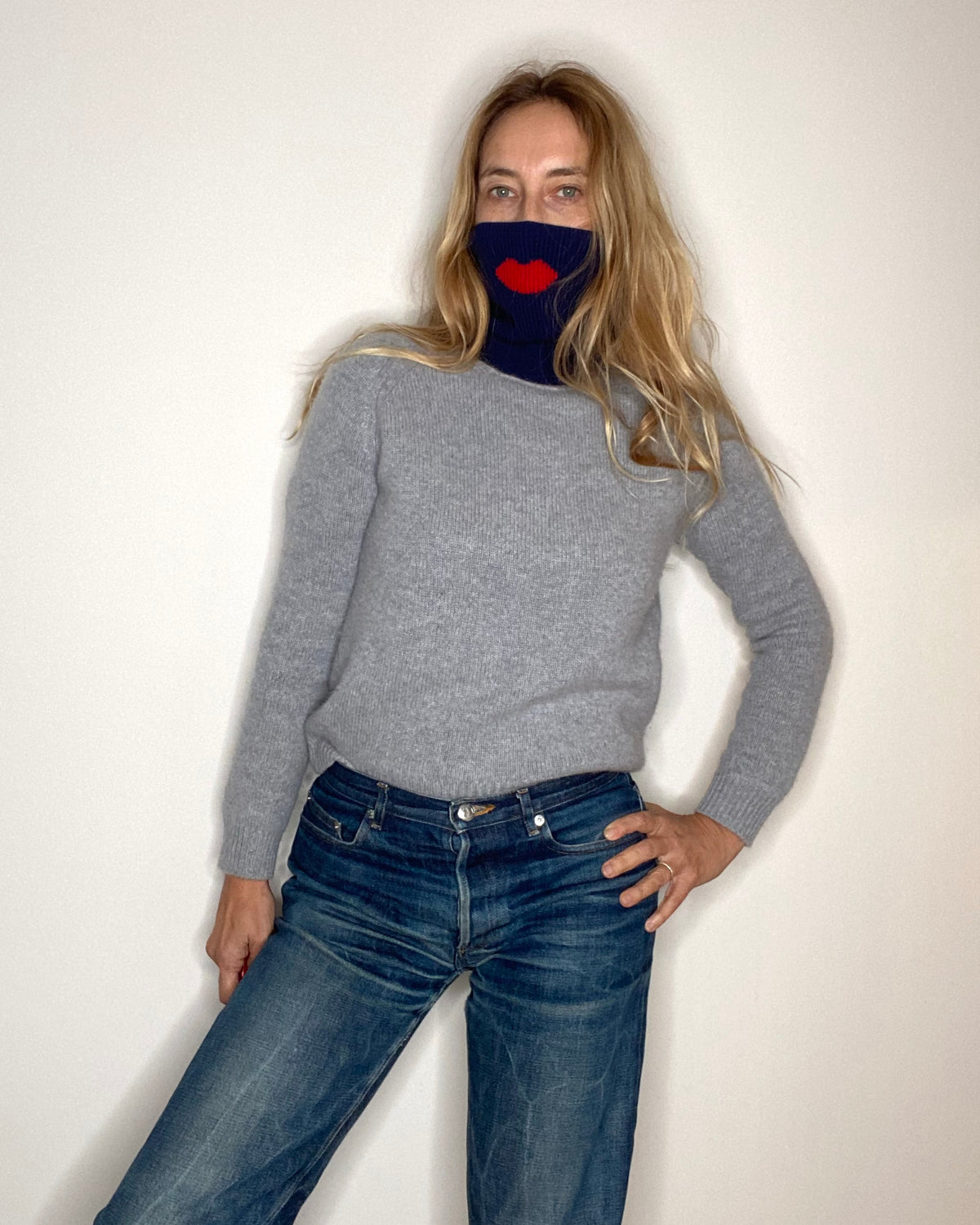 cashmere tube turtleneck navy