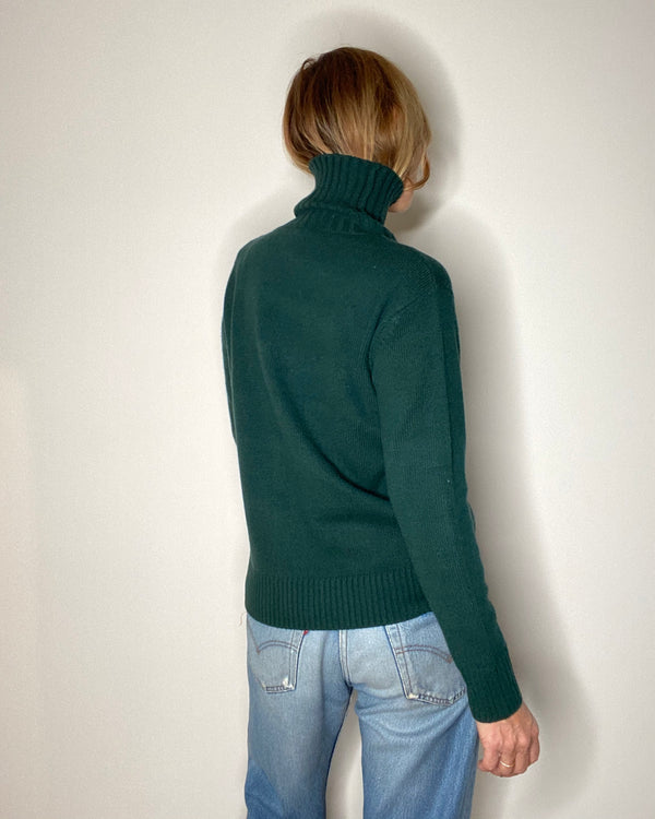 cashmere and wool turtleneck pierre green