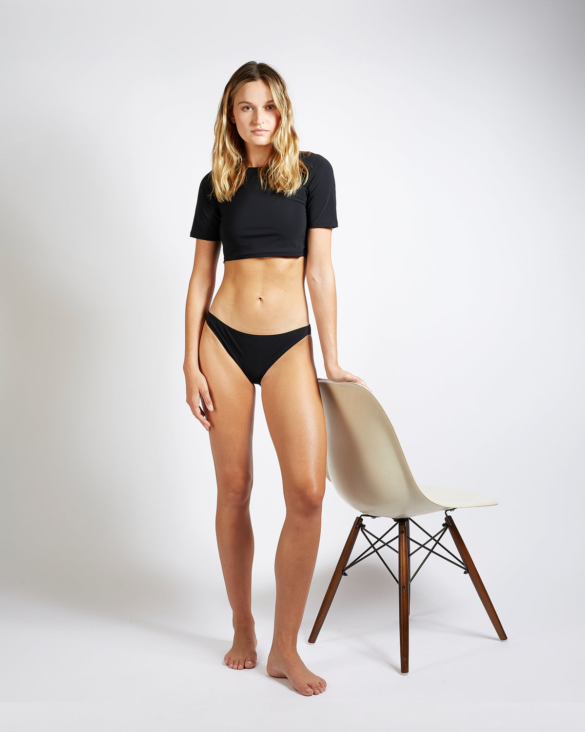 maillot de bain crop top black