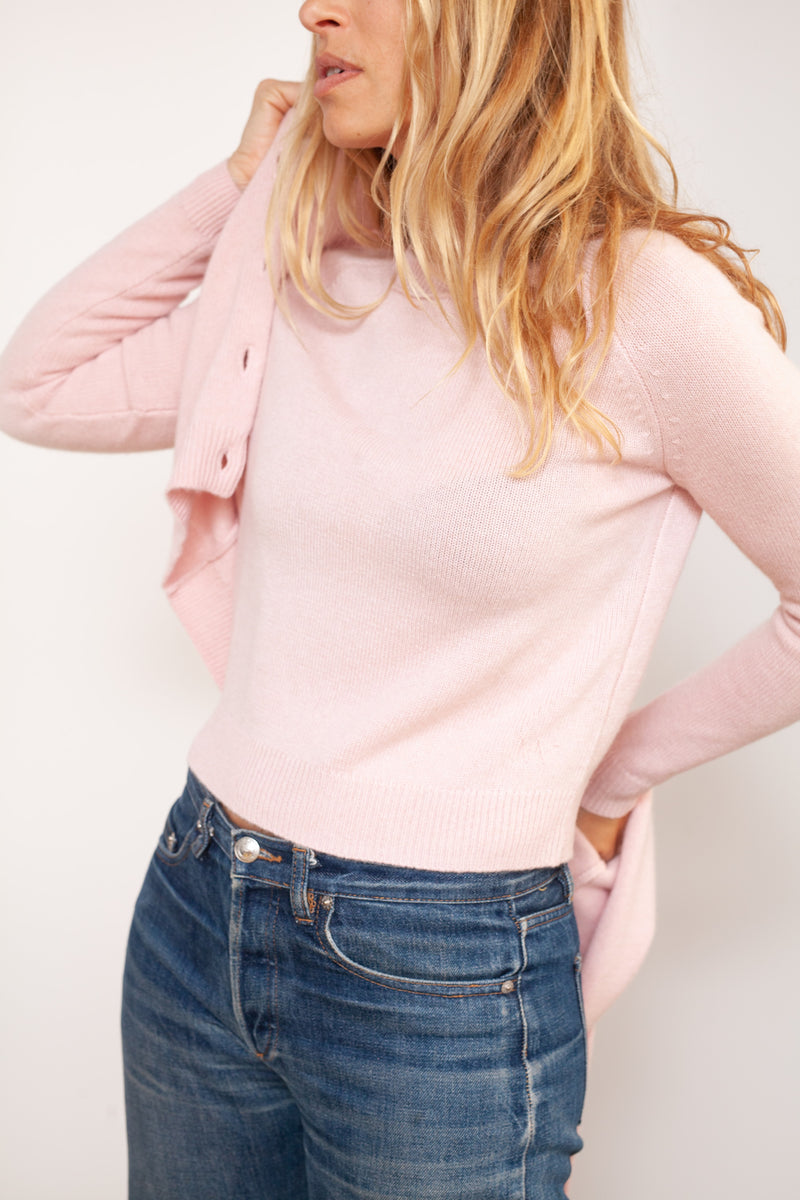 pull cachemire crop mini mila rose blush