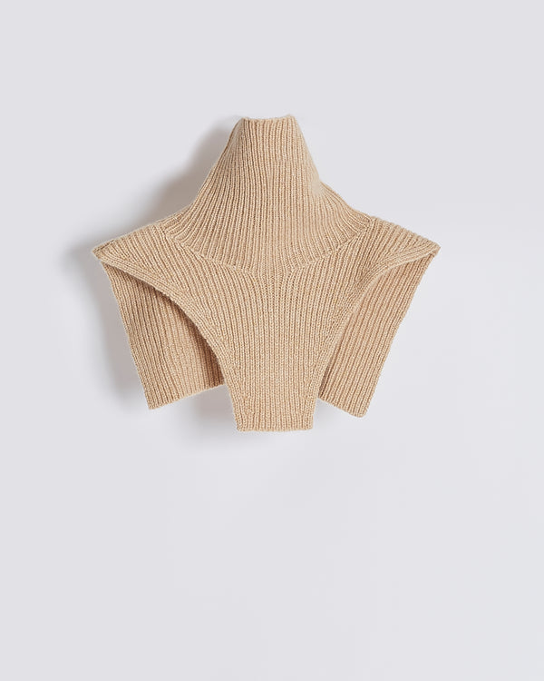 powder cashmere turtleneck plastron