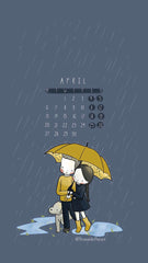 Three Under the Rain April 2020 Calendar Wallpaper