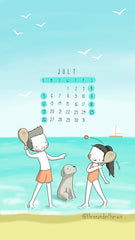 July 2020 SMTWTFS wallpaper monthly calendar beach