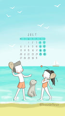 July 2020 MTWTFSS monthly calendar wallpaper