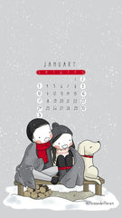 January 2021 Calendar Wallpaper Three Under the Rain Snow Sunday to Saturday