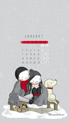 January 2021 Calendar Wallpaper Three Under the Rain Snow Monday to Sunday