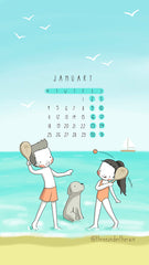 January 2021 Calendar Wallpaper Three Under the Rain Souther Hemisphere Monday to Sunday