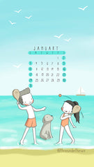 January 2021 Calendar Wallpaper Three Under the Rain Souther Hemisphere Sunday to Saturday