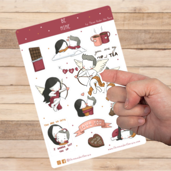 Be Mine Valentine's Day Kiss Cut Stickers Sheet