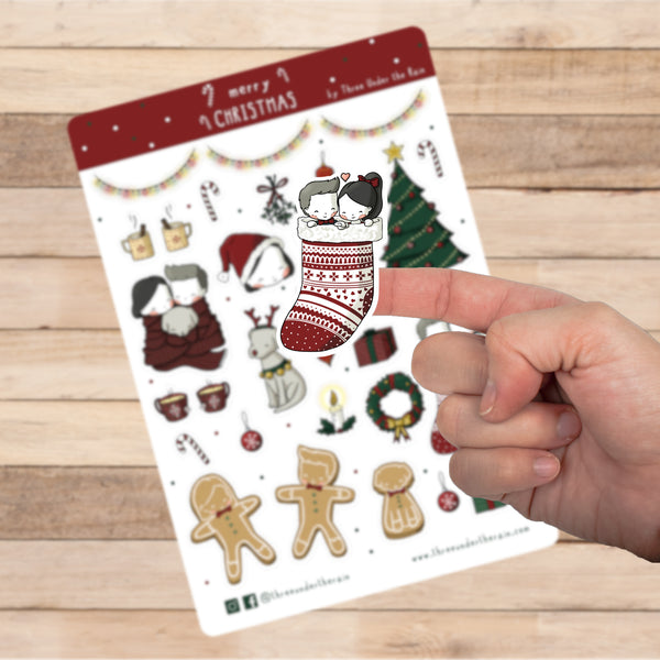 Merry Christmas Kiss Cut Stickers Sheet