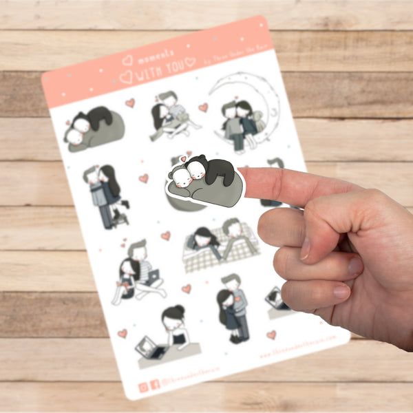 Moments With You Kiss Cut Stickers Sheet