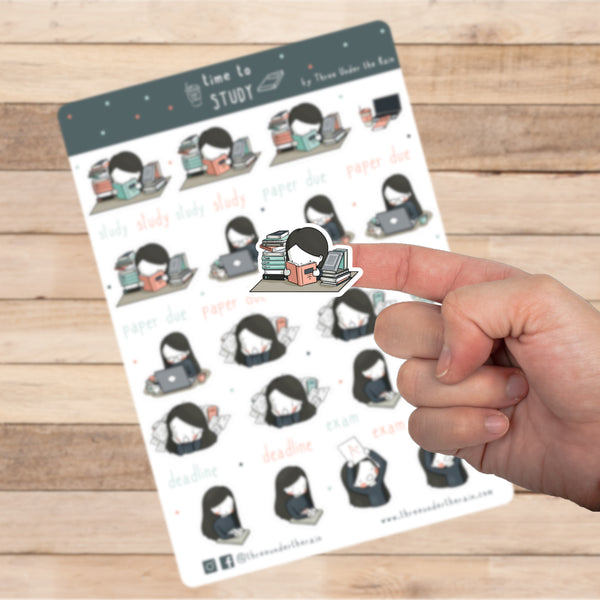 Time to Study Kiss Cut Stickers Sheet