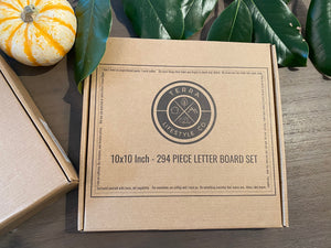 "Terra Lifestyle Co's 10x10 White Oak Letter Board - Authentic wood | Modern Upscale Message Board | 294 2"" Letters"