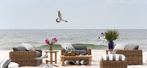 Daytime Beach Service with Luxury Wicker Couches