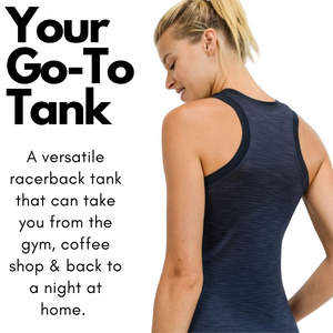 Ribbed Racerback Black Tank Top for Women