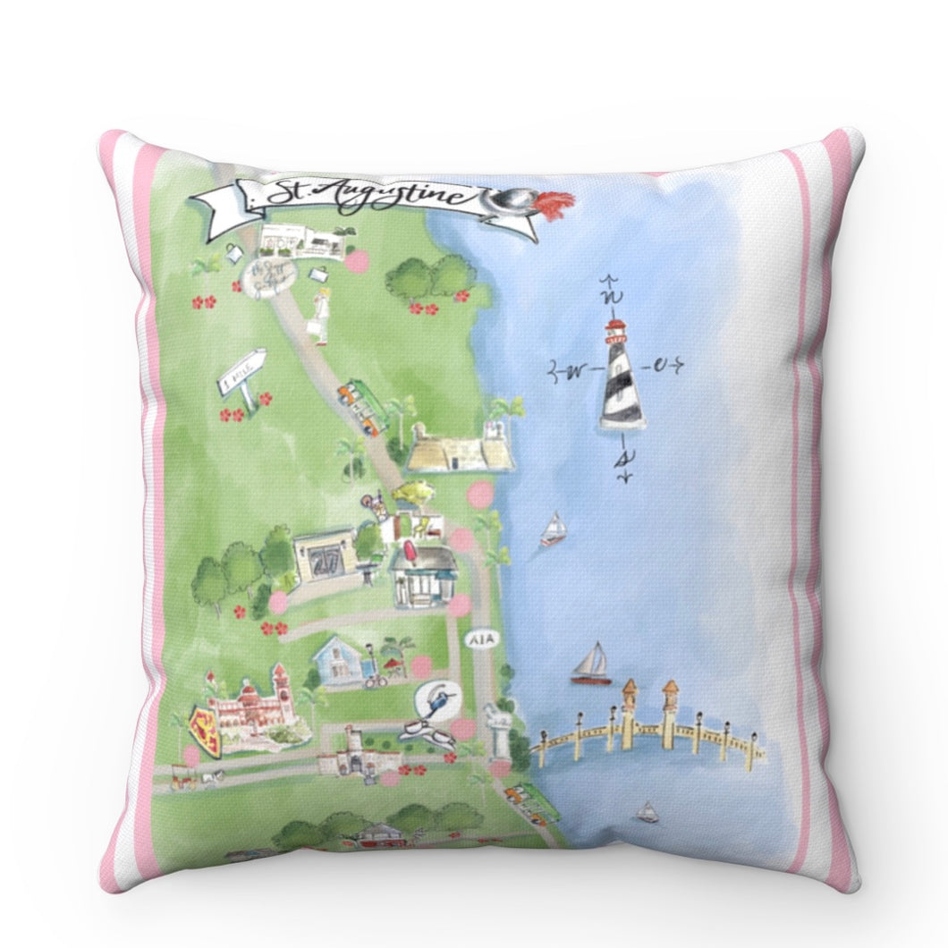 Bird's Eye View Map // St. Augustine Pillow