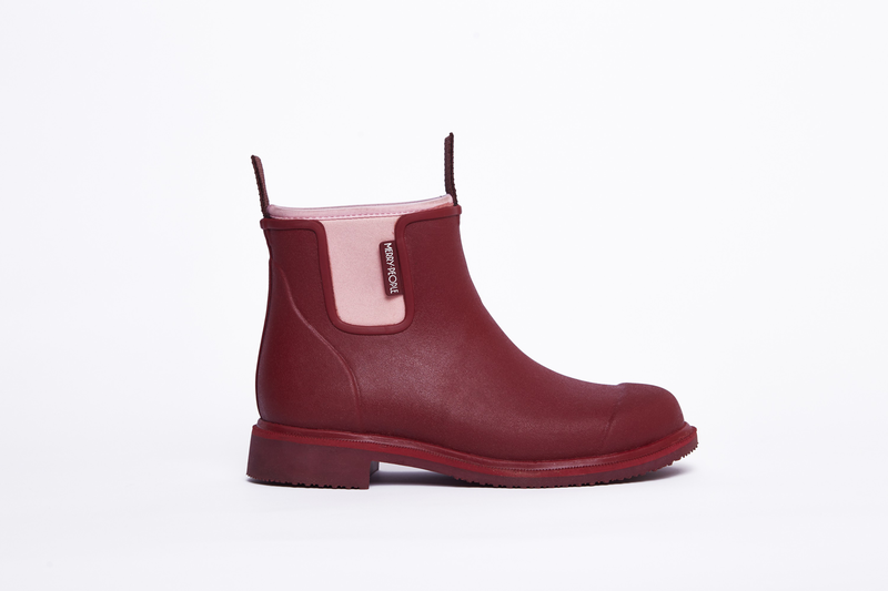 Merry People Bobbi Gumboot // Beetroot & Light Pink