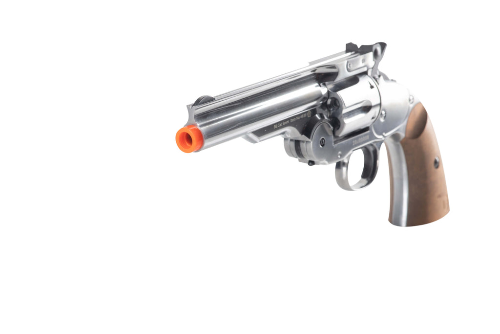 "Barra Airguns 5"" Nickel Schofield No. 3 Revolver - 6MM Airsoft CO2 Full Metal Airgun Pistol"