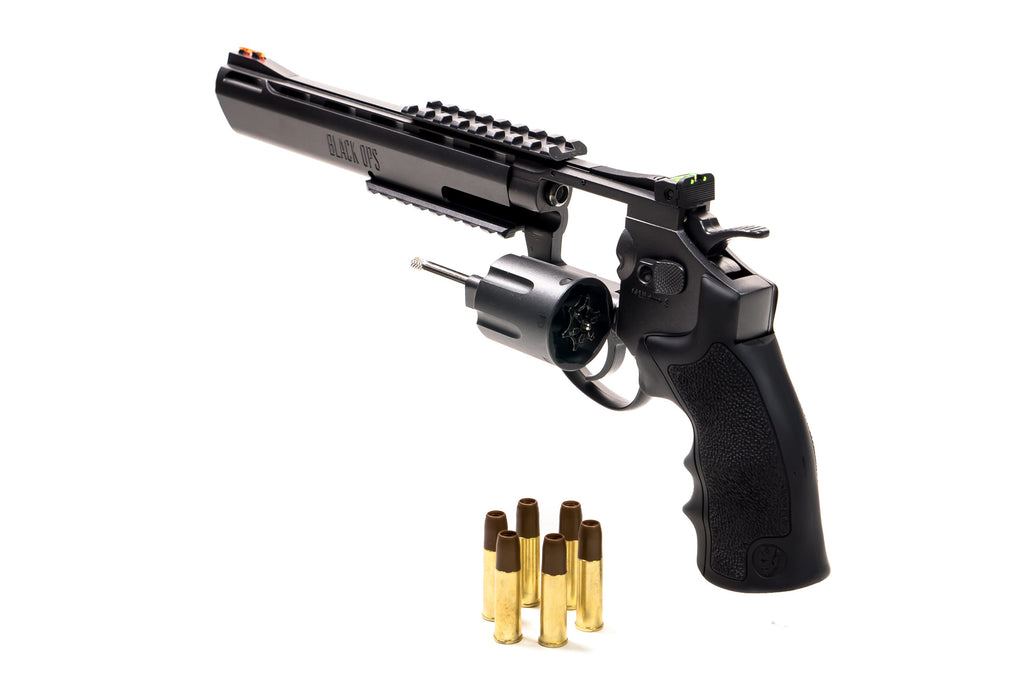 "Black Ops Exterminator 8"" Full Metal Revolver - Gun Metal Finish - Pellet Cartridges Available"
