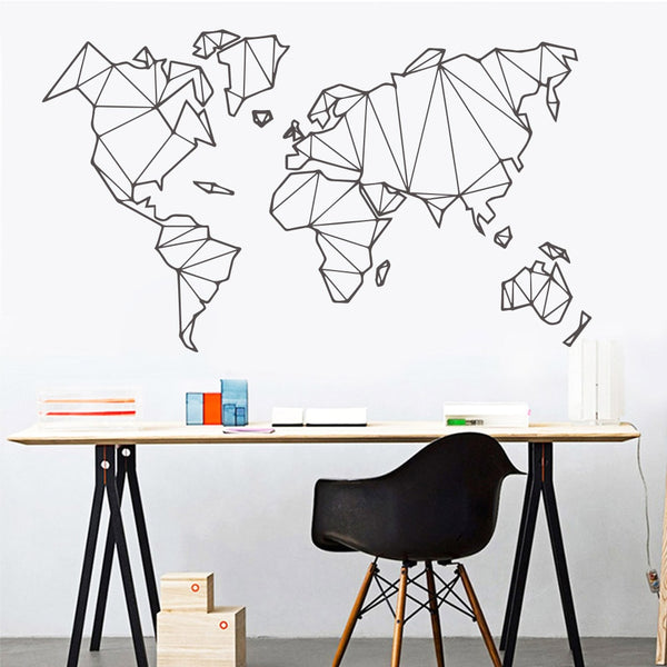 Large Size Geometric World Map Wall Sticker Vinyl Mural Removable Stickers Home Living Room Decoration Accessories Bedroom Decor
