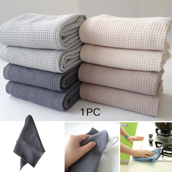 42x63cm Kitchen Use Washcloths Hand Cotton Waffle Pattern Soft Drying Tea Towel Wipes Dish Cleaning Table Napkins Washing