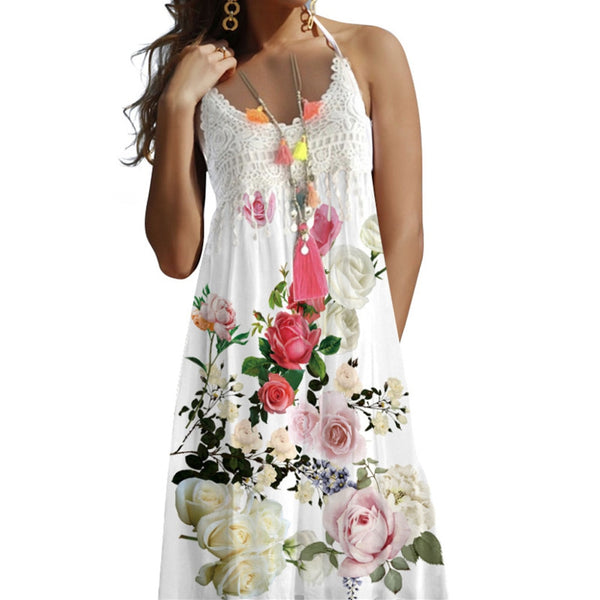 2019 Women's Sexy Boho Lace Vintage flowers Sleeveless Beach Print Summer dress Faldas Mujer vestidos robe femme sukienki