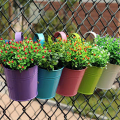 High Quality 10 Colors Hanging Flower Pots  Hook Wall Pots Garden Pots Balcony Planters Metal Bucket Flower Holders Home Decor10