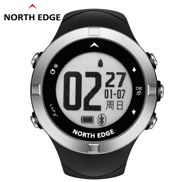 NORTH EDGE Sports Watches Compass Heart Rate Monitor Pedometer Triathlon Geolocation Running Jogging Digital Wristwatches