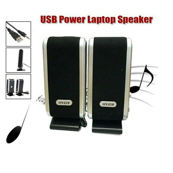 2PCS Portable Audio Video USB Power Mini Speakers Wired Stereo 3.5mm Jack for Desktop PC Laptop Audio 17 x 7 x 6.5 cm