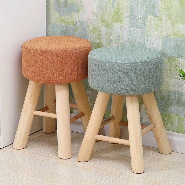 Fabric Pine stools fashion sofa stool modern simple wooden round dressing chair home dining room small bench mx7091126