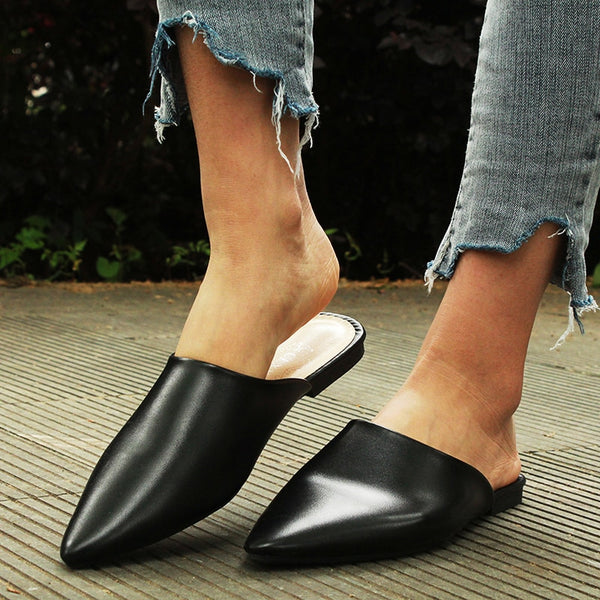 Flat Shoes 2019 Fashion Mules For Women PU Leather Pointed Toe Slip On Flip Flops Women Slipper Summer Sandals Women's Shoes