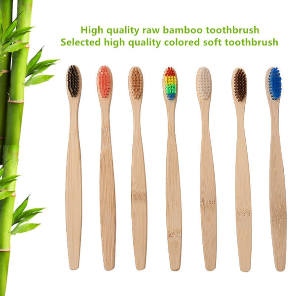 Green 1PC Natural Bamboo Handle Toothbrush Rainbow Colorful White Soft Brush Bamboo Toothbrush Environmental Oral Care