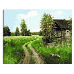 RIHE DIY Painting By Numbers Village Road Painting & Calligraphy Unique Gift For Living Room Scenery Home Decor 16x20inch