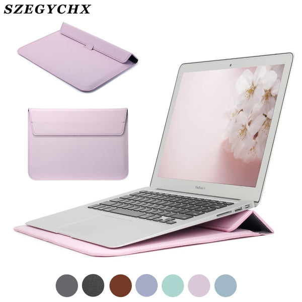 PU Leather Sleeve Protector Bag For Macbook Air 13 Pro Retina 12 15 Laptop Case For Macbook new Air 13 A1932 Stand Cover A2159