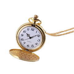 2019 Classic Large Two-Faced Gold Fashion Pocket Watch Court Style Pocket Watch man woman necklace clock Jewelry gift Q527