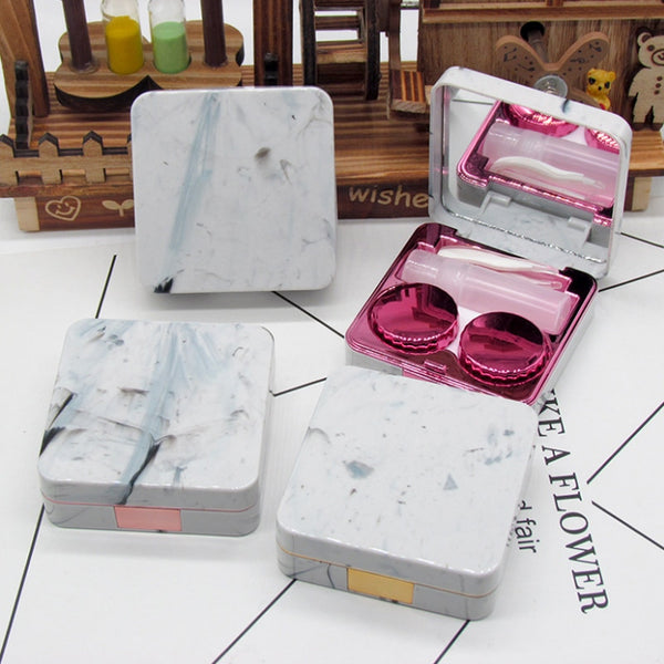 Square Contact Lenses Case Marble Surface Mirror Lens Container Box Travel Eye Contacts Holder Cover Soaking Contact Lenses