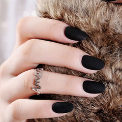 24pcs Rounded Matte Black False Nails Artificia Plastic Impress Fingernails Oval Fake Nails Short Nepnagels For Girls