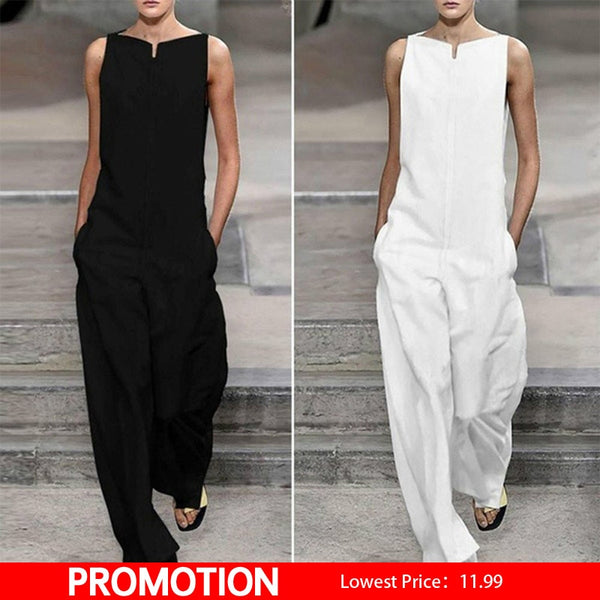 Women's Sleeveless Wide Leg Jumpsuit Romper White Slash Neck Loose Jumpsuits Women 2019 Summer NEW Streetwear Overalls Woman XL