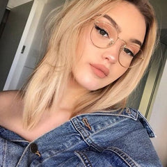 Fashion glasses frame Classic Round Women's Metal frame Optical Glasses Transparent Computer oval eyeglasses frame Reading